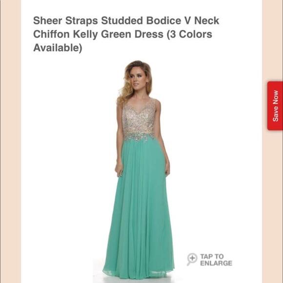 Dresses | Chiffon Kelly Green Prom Dress | Poshmark